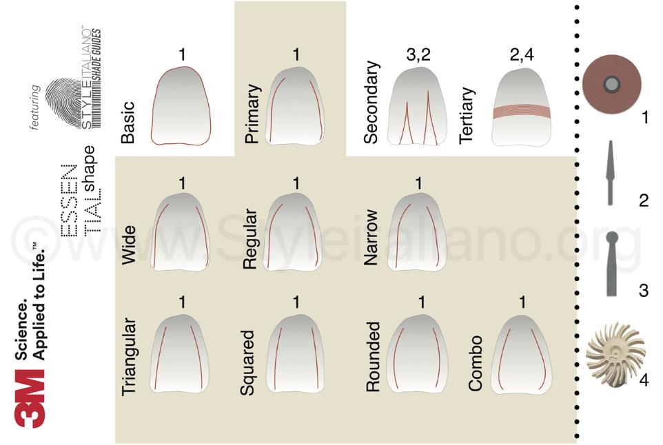 essential shape styleitaliano finishing chart